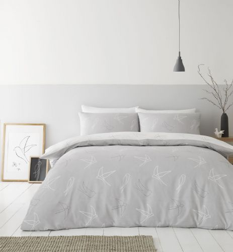Catherine Lansfield Linear Swallows Grey Bedding Set